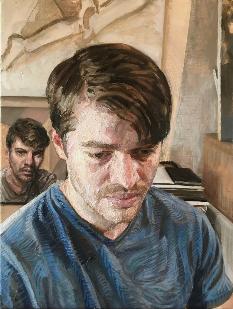 'Man in Blue', 2019. 30x40cm, Oil-on-Canvas.