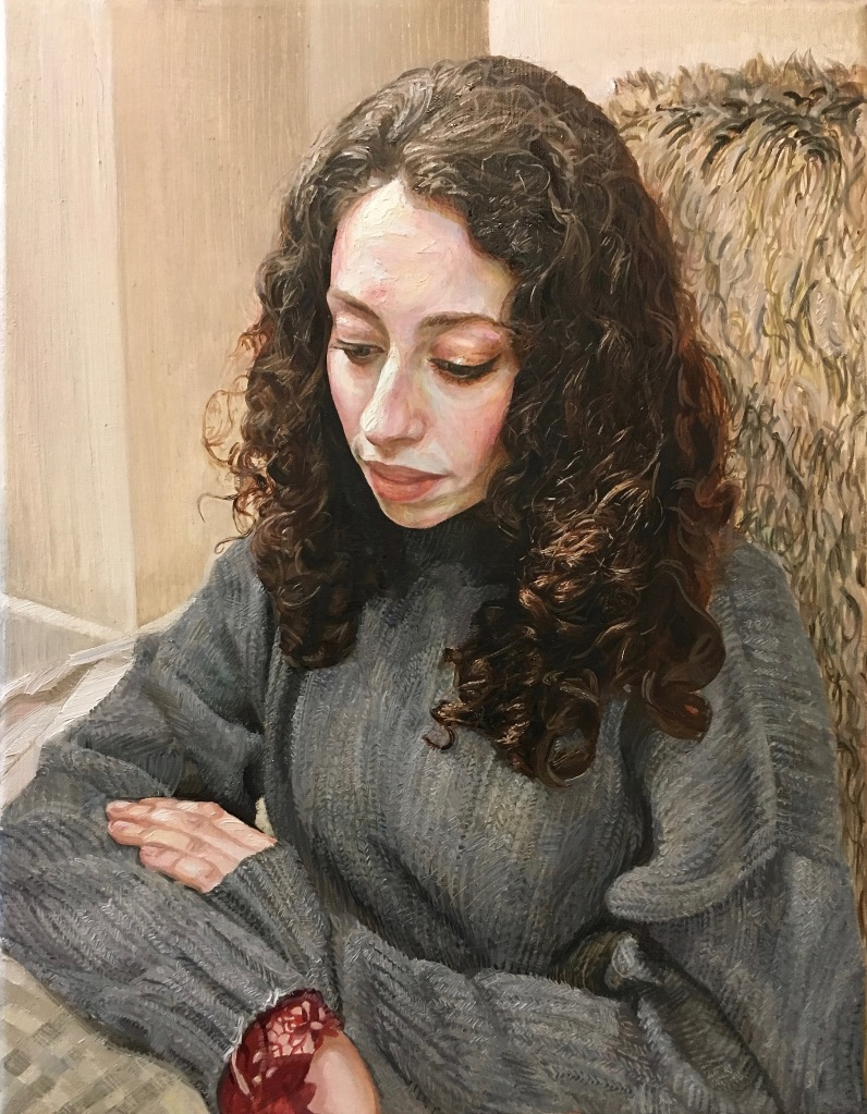 """Woman in a Knitted Jumper"", 2019-20. Oil-on-Canvas, 35x45cm."