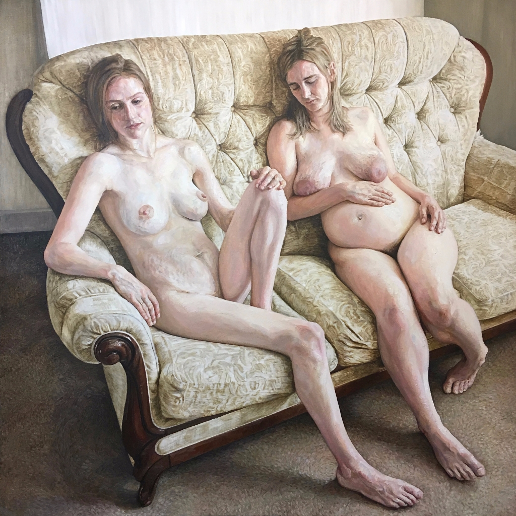Portrait of Two Mothers, 2019-20. Oil-on-Canvas, 140x140cm.