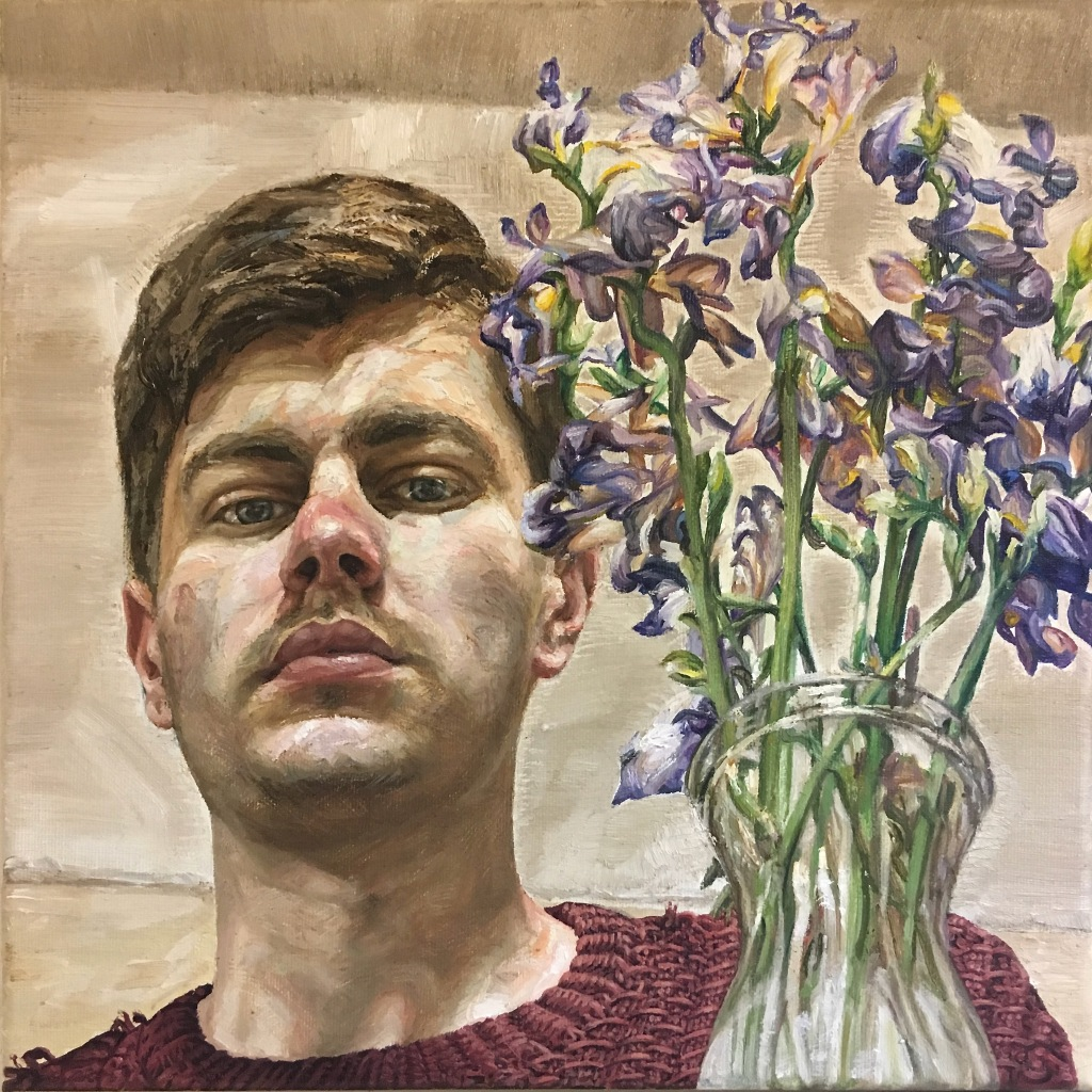 'Self-Portrait with Dead Flowers', 2020. Oil-on-Canvas, 30x30cm.