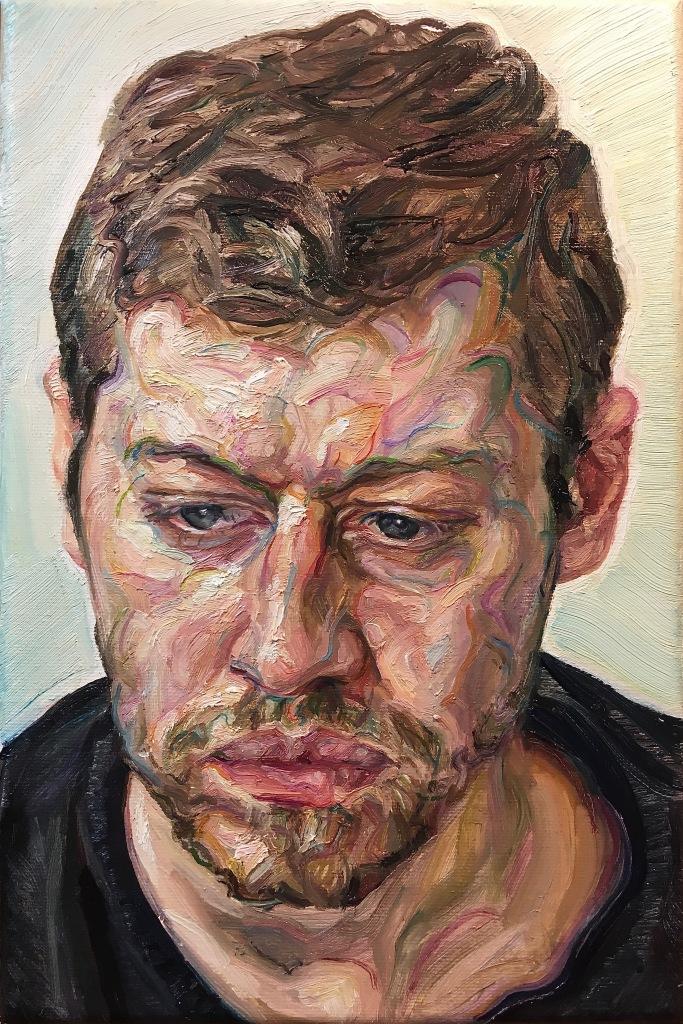 'Lockdown Man', 2020. Oil-on-Canvas, 20x30cm.