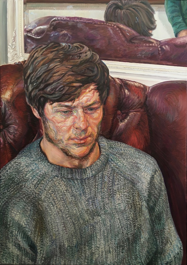 'Man in Red Chair', 2021. Oil-on-canvas, 50x70cm.
