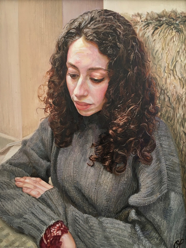 """""""Woman in a Knitted Jumper"""", 2019-20. Oil-on-Canvas, 35x45cm."""