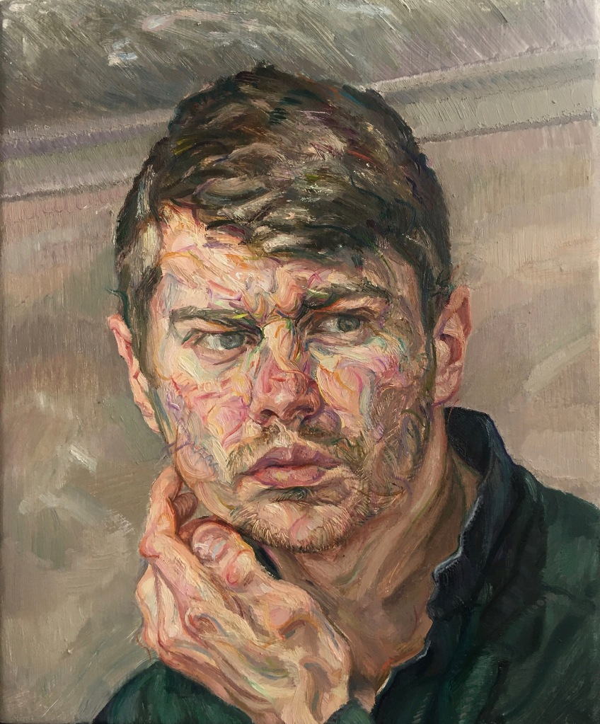 Self-Portrait with Upturned Collar, 2021. Oil-on-Linen, 25x30cm.