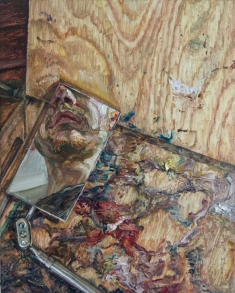 'The Painter at Work (Self-Portrait Fragment)', 2021. Oil-on-Canvas, 20x25cm.