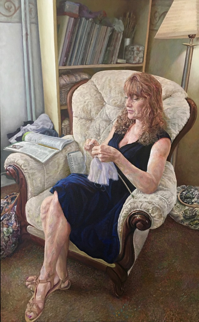 """""""The Knitting Lady"""", 2021. Oil-on-Canvas, 120x75cm."""